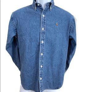 SOLD-Ralph Lauren Polo Cotton Chambray Sport Shirt